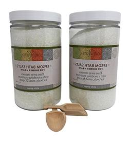 Aromatherapy Epsom Salt Bath Salts 2 Pack with Wooden Scoop